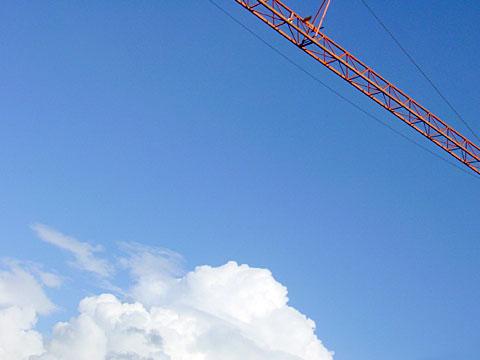 Blue sky with crane