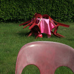 plastic chairs in a garden